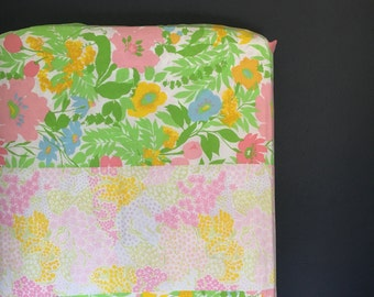 Baby Girl Patchwork Fitted Crib Sheet - Bumperless Bedding by Vintage Kandy - Ready 2 Ship - Vintage Flowers - Yellow, Orange, Green, White