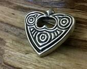 Pure Silver Raven Heart Pin