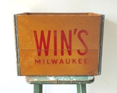Vintage Wood Crate, RARE, Win's Soda Crate, Milwaukee, Wisconsin, Wooden Crate, Antique Crate