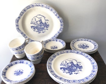Antique Blue and White Transferware Dinnerware Set