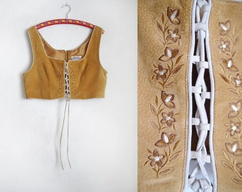Cropped Folk Leather Lace up Top Bustier Bodice Womens bohemian Fantasy Elf Robin Hood Light beige Suede LARGE Historic fashion Oktoberfest