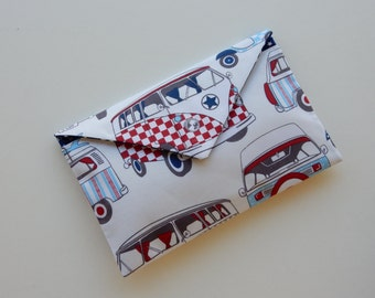 Camper & Scooter Print Clutch Purse, Evening bag, Handbag