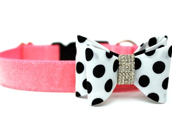 Dog Collar Bow Add-On Polka Dot Bow for Dogs