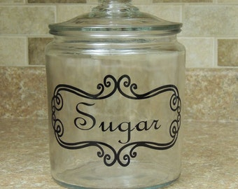 Sugar glass canister, kitchen sugar canister, sugar storage jar, kitchen counter canister, glass apothecary jar, sugar pantry jar