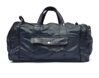 Leather Duffel Bag, Navy / Midnight Blue, Mens Vintage Bags / Luggage