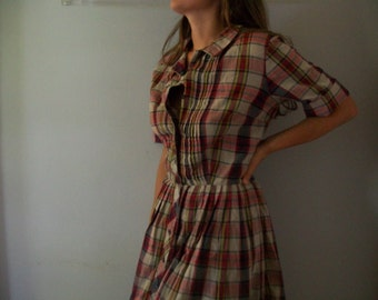 Vintage Plaid Shirt Dress- Button Front- 70s- Fall ((Size Small to Medium 4-6))