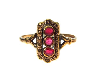 Faux Ruby Gold Fill Victorian Ring Size 8.5