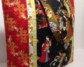 Oriental fabric quilted tote bag