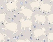 Birch Fabrics Organic  Homestead Knits by Half Yard - Little Lamb Fog