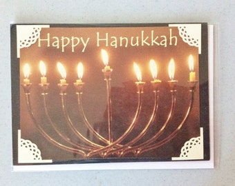 Happy Hanukkah Card, Black, Brown, Candles, Flames, Photo Corners, Cardstock, Verse Inside