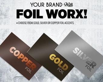 Gold, Silver, Copper Foil Business Cards