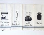 Funny Kitchen Towel - Dish Towel - Kitchen Cloth - Dish Cloths - Baking - Hand Towel - Wedding Gift Idea - Gag Gift - Hostess Gift - Set #2