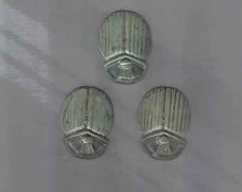 Big scarab glazed ceramic button in antique green color   - 1 button - 4.5x3 cm thickness 3mm - made to order