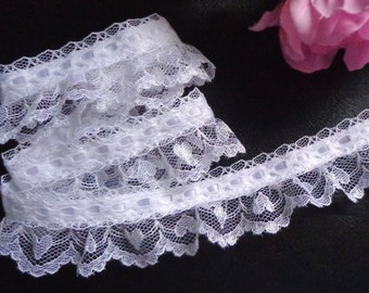 soft Ruffled Lace with Ribbon, 1+1/2 inch wide white price for 1 yard