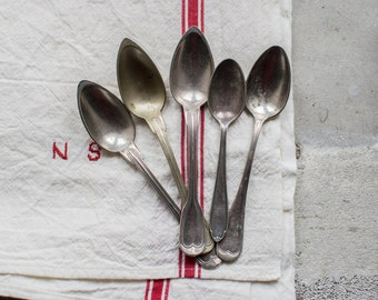 French Silverware Spoons, set of 5