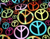 """FABRIC - Colorful PEACE Signs on black -1 piece 13"""" by 42"""" wide"""