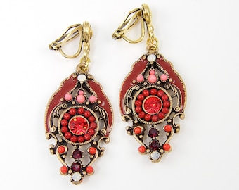 Red Clip on Earrings - Burgundy Coral Orange Rhinestone Ornate Antique Gold Flower Dangle Non Pierced Earrings |EC1-52