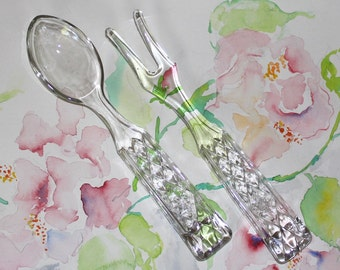 Vintage, Diamond and Starburst Pattern, Glass Serving / Salad Fork and Spoon