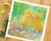 Modern Wall Decor, Chicks, Pet, Chicken, Farm Animals, 8 x 8 Art Print of Original Acrylic Painting