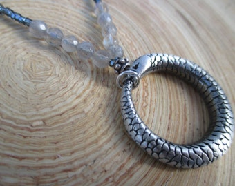 SALE Ouroboros necklace with labradorite and silvery beads / 19""
