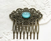 Turquoise Hair Comb Blue Vintage Inspired Hair Comb Aqua Hair Slide Bridesmaid Gift Victorian Rustic Bridal Woodland Headpiece for Bride