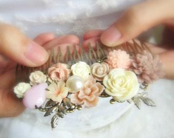 Mauve Bridal Comb Wedding Hair Accessories Blush Pink Plum Pastel Hair Slide for Bride Modern Romantic Bridal Headpiece Bridesmaid Gift