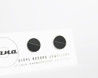 10 mm record post earrings vinyl record black stud earrings flat ear studs unisex studs unisex earrings upcycled jewelry hipster earrings
