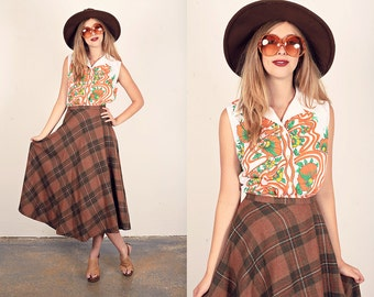 Vintage 70s Plaid Skirt Orange Brown Plaid Maxi