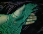 1970s jade Green Ruched Chiffon Evening Gloves