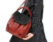 Red cross body bag, Fashion Fine Leather Bag, Slouchy Purse, Handmade Everyday Handbag, Sack Bag ,