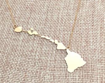Heart in Oahu Hawaiian Islands Necklace