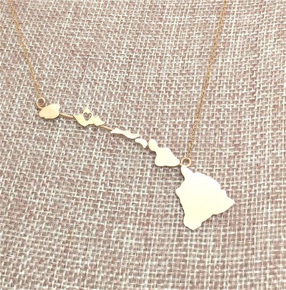 Hawaiian Islands Necklace, Heart in Oahu, State of Hawaii, Hawaiian Island Chain made in Sterling Silver or 14K gf Necklace
