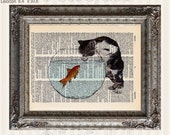 Cat and Goldfish 1 on Vintage Upcycled Dictionary Art Print Book Art Print Recycled Repurposed Kitten Fish