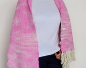 Women Pink blanket scarf Women wool handwoven scarf Pashmina shawl wrap Autumn fall gifts by Texturable
