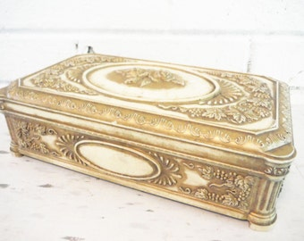 Jewelry box fancy cream and gold boudoir floral molded plastic trinkets treasure glam decor