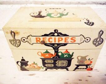 Vintage recipe box tin stove kitchen  retro mid century Stylecraft