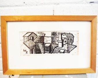MZ mid century modern block print rooftops houses framed vintage architecture modernist black and white signed