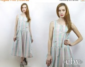 90s Dress Plaid Dress Summer Dress Drop Waist Dress Hipster Dress Vintage 90s Pastel Plaid Midi Dress M L