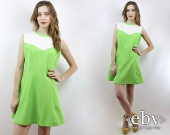 Vintage 60s 70s Lime Green Mod Mini Dress M L 60s Mod Dress 60s Dress Lime Green Dress Hippie Dress Hippy Dress 1970s Dress 70s Dress