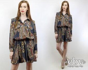 Plus Size Dress Plus Size Vintage Secretary Dress 1980s Dress Vintage 80s Paisley Secretary Mini Day Dress XL 1X Paisley Dress 80s Dress