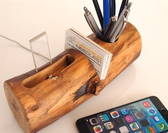 iPhone Dock, Pen Holder, Card Holder - all in one (desk accessory / office accessory / office organizer)