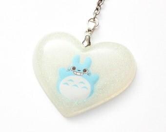 White Totoro Heart Keychain - anime, ghibli, my neighbor totoro, cute keyring