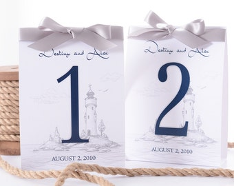 Nautical Wedding Table Number Tent Cards - Lighthouse Wedding Table Centerpiece - Beach Wedding Decor - Personalized Wedding Table Tents