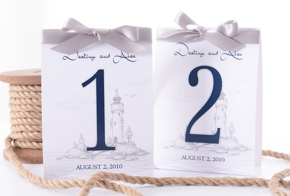 Nautical Wedding Table Number Tent Cards Lighthouse Wedding Table - Wedding table tents