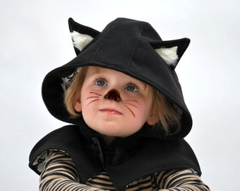 Kids cat cape black cat halloween costume childrens kitty capelet furry kitten fancy dress photo prop unisex childs pet party cute outfit