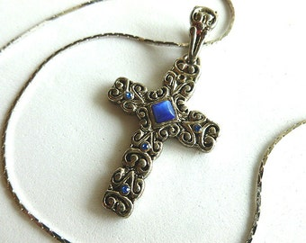 Blue Tigers Eye & Silvertone Cross, Vintage Scrollwork Design Cross Pendant, Cross and Neck Chain, Cross Necklace, Silver Cross
