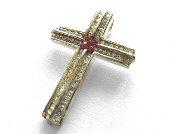 SWAROVSKI CRYSTAL Silver Plated Cross Pendant, Red and Clear Swarovski Crystal Cross, Focal Cross, Crystal Cross Pendant, Silver Cross