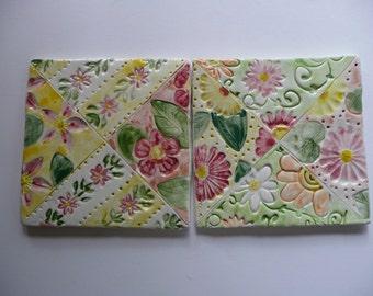 "Handmade Patchwork Tiles 4-1/2"""