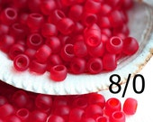 Red TOHO Seed beads, size 8/0, Transparent Frosted Ruby, N 5CF, red glass beads - 10g - S810