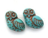 2pc Fancy Owl Turquoise Beads, Czech glass pressed beads, Earring Pairs, Large Bird Bead - 0613